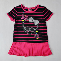 Monster.High Style Short Sleeve T-shirt + Black Pants Leggings 100% Cotton Print Style Girls 2 Piece Suits Clothing Sets(DA-014)
