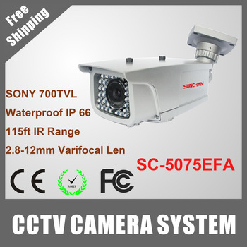 "SUNCHAN 1/3"" Sony Effio-E 700TVL Waterproof Outdoor Camera 30M IR Range Array LED SC-5075EFA"