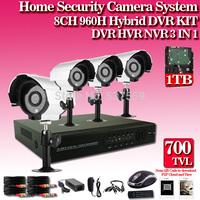 Home 700TVL 8CH CCTV Security Camera System 8CH DVR 700TVL Outdoor Day Night IR Camera DIY Kit Color Video Surveillance System