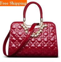2014 Women Vintage Japanned Leather Handbag Plaid Pearl Chain Messenger Bag Style Vintage Women Shoulder Bag Pu Leather Totes