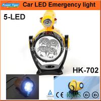 12v Mini Rotatable Magnetic Car Spotlight RechargeableTorch Cigarette Lighter Auto Car 5 LED Emergency Light Maintenance Lamp