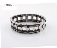 free shipping new 2013 man bracelet Chain Stainless Steel charm bracelets&bangles Fashion Black Rubber design for men jewelry