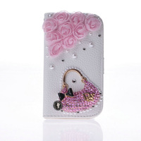Case For Samsung Galaxy s3mini s3 mini i8190 Free Shipping 1pcs Lovely Bling Flip Leather Cover with Inner Wallet Card Slot