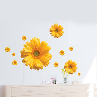 1 set 20*43 inch Removable PVC Decals Beautiful Flowers Daisy Wall Stickers DIY Art Home Decoration
