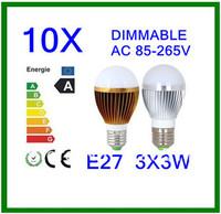 10pcs/lot high power CREE  E27 3x3W 9W 85-265V  LED bulb Dimmable white/warm white  Bubble Ball bulb  Free Shipping
