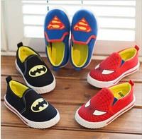 Children Superman Spiderman Batman Shoes 2014 New Girls Boys Christmas / Halloween Canvas Single Flat  Shoes  Free Shipping