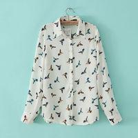 women casual streetwear birds prints shirt turn-down collar long sleeve leisure blouse 214414