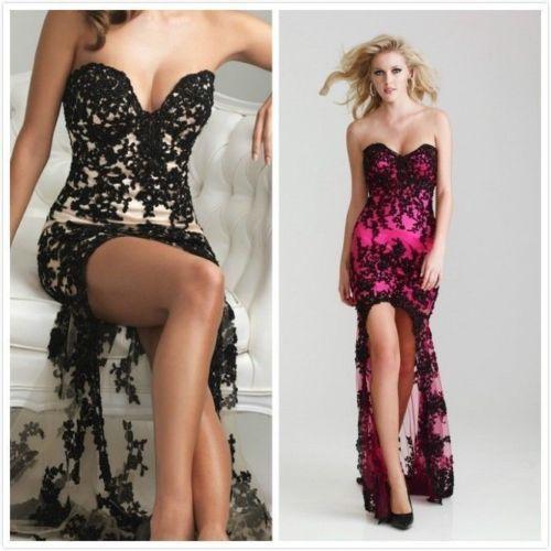 Pink And Black Lace Prom Dress - Ocodea.com