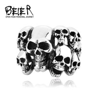 Cheap Men's Punk Biker Jewelry lot of multi solid Skull Ring 316L Stainless Steel Jewelry Free Shipping BR8-041 US size