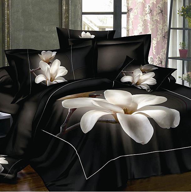 black bedsheet white flower 100 cotton bed set Queen size bedcover 3d bedding set luxury Duvet/quilt cover sets(China (Mainland))