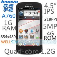 "Original   Lenovo A760 Multi language Mobile phone 4.5""IPS 854x480 Quad-core1.2G 1G RAM 4G ROM  Android 4.1 5MP"