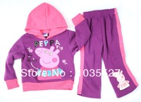RETAIL !!! 2013 New  girls kids peppa pig clothing sets  purple autumn fall winter children outwear  SIZE 2 3 4 5 6