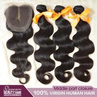 1 PC Lace Closure With Bundles 3PCS Malaysian Virgin Hair Body Wave,3 Part Lace Closure 4*4 Malaysian Virgin Hair,Free Shipping