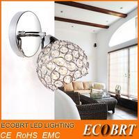 2014 ecobrt-modern crystal wall sconce lights for home indoor lighting plate using e14 bulbs 110v/220v free shipping