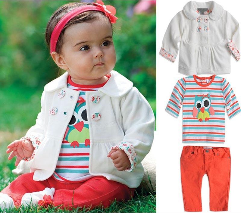 Retail Baby Girls Set Cartoon owl stripes 3 pieces sets of new Kids suit Jacket coat + T shirt + pants Children clothing set(China (Mainland))