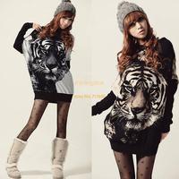 Spring Autumn Fashion Women Tiger Print Long Sleeve Sweatshirts Animal Sweater Tops Loose Pullovers Hoodies Dropshipping 18831