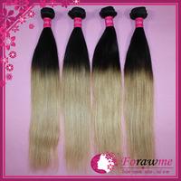Forawme  Hair 1b/27 ombre hair virgin brazilian hair straight weaves  black with honey blone two tone hair straight weft
