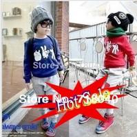 New Year Boys Clothing Baby Child Sweatshirt Set Children Fashion Clothes T-shirt+Pants Set Outwear