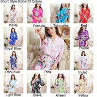 Free Shipping 2014 Short Style Woman Silk  Kimono Robes ,Bridesmaid Robe ,Wedding Party Robe Peacock Printed MOQ 1 PC