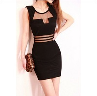 3900 2014 Winter sexy long dress New Black White Stripes Dress Transparent Lace Women's Dresses Free Shipping Casual Vestidos