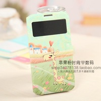 High quality Cute cartoon Design PU leather skin case for Samsung Galaxy S4 gt I9500 Flip cover free shipping