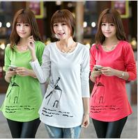 top  women summer t shirt new  2014  College wind windmill cotton short T-shirt printing Slim women's t-shirt  wholesale price