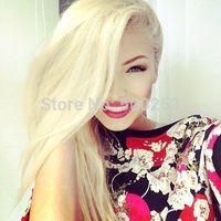 100%Brazilian Vingin Human Hair  Full Lace Wig , #613 Silk Straight Hair ,Side Part Blond Wig