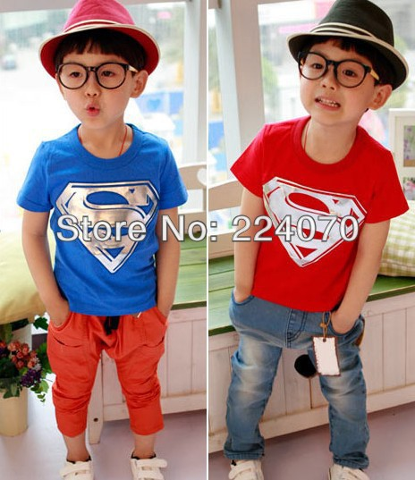 Free shipping Children Kids boys t shirt Superman baby boys clothing t shirt for Summer kids baby boys t shirt(China (Mainland))