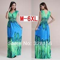2014 Long/ Maxi Casual Dress Printed Summer Women Dress Plus Size M-6XL Freeshipping