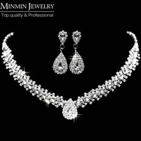 New Design Free Shipping Teardrop Wheat  Imitated Gemstone Crystal Wedding Bridal Jewelry Sets including Necklace and Earrings