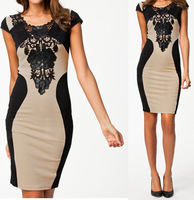 S M L XL XXL Plus Size 2014 New Summer Dress Women Vestidos Embroidery Bodycon Bandage Dress Sexy Slimming Club Dress 9055