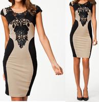 XXL Plus Size 2014 New Women Summer Dress Femininos Vestidos Embroidery Bandage Party Dress Bodycon Casual Dress 9055