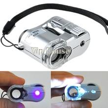 Prata 60X Mini bolso lupa lupa microscópio LED moeda UV Detector Dropshipping 19404(China (Mainland))