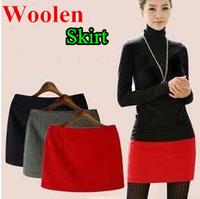 2014 New Autumn Winter Womans Woolen Skirt OL Slim Package Hip Skirts Plus Size Fashion  Mini Short Skirt For Women