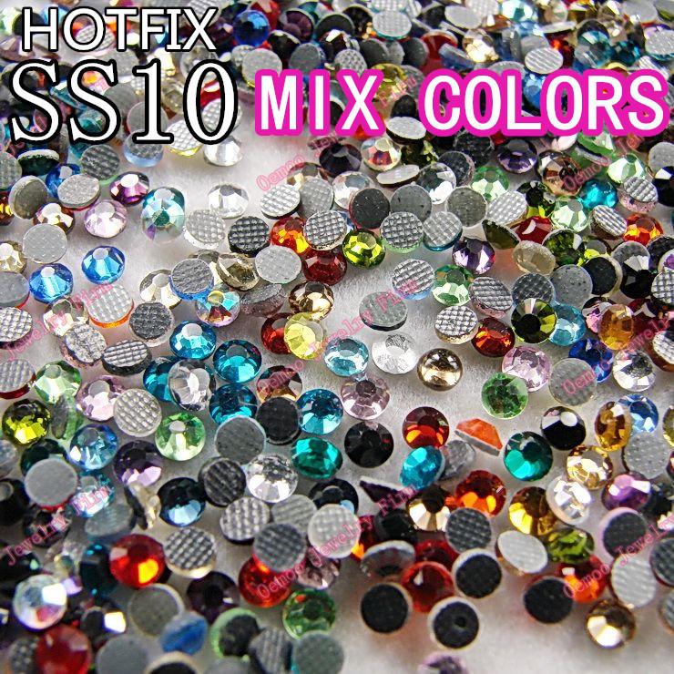 More than 20colors mixed ss10 1440pcs DMC HotFix FlatBack Rhinestones trim strass DIY iron on glass Hot Fix crystal stone(China (Mainland))
