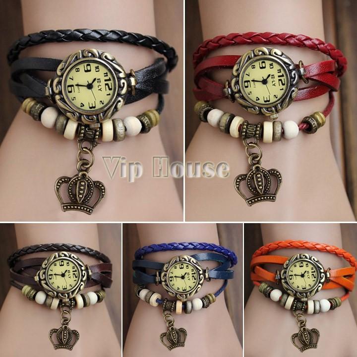 2014 New Arrival High Quality Women Stylish Crown Weave Wrap Leather Vintage Quartz dress Watch,Bracelet Watch Wrist Watch 19175(China (Mainland))