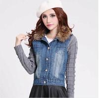 [TC] PLUS SIZE new 2014 Women denim jacket  casual large fur collar long sleeve liner jackets women wadded jeans coat  4XL XXXL