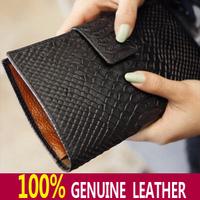 100% Real Cow Genuine Leather 9 Colors Large Long Croco Crocodile Women Multi Card Hot Fashion Purse Clutch Wallet Purse Bag *