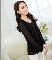 Women Blouse Shirts Plus Size Chiffon Long Sleeve Summer Tops Clothing Casual Blusas Femininas 2014 S-4XL 015