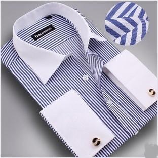 Free shipping new 2014 shirt free M-3XL men long sleeve shirt+free cufflinks men dress shirt fashion men's shirt  wholesalecheap