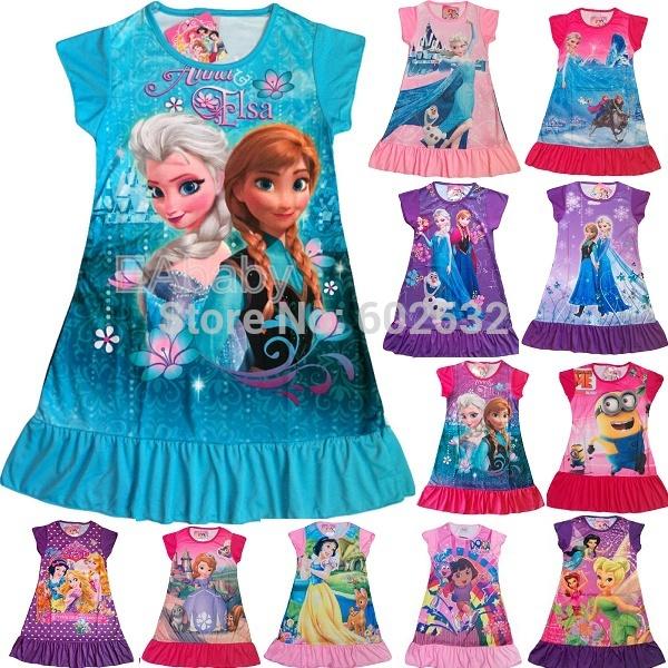 Hot Frozen nightgown Summer Girl print Cartoon Frozen elsa anna princess nightdress girls polyester kids clothes 01(China (Mainland))