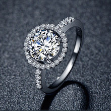 2014 Hearts & Arrows Ideal cut Swiss Cubic Zirconia in White Gold Plated Engagement Ring High Quality Fashion Jewelry Freeship