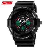 Fashion Luxury Sports Watches 2 Time Zone LED Digital & Quartz 50M Waterproof Chronograph Dress Wristwatches For Men Women Watch
