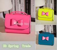 New 2014 Fashion Handbag PU Leather mobile phone candy bow mini women messenger bag for vintage girls shoulder bag