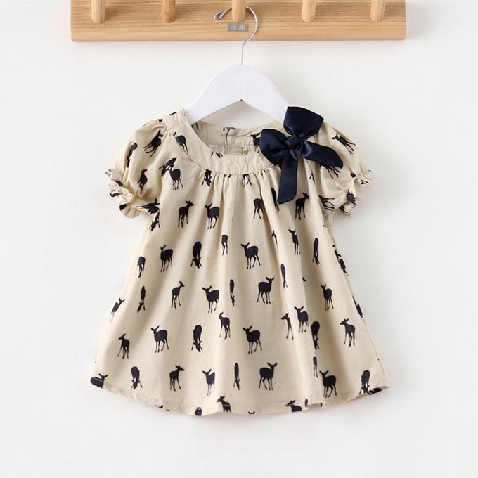 Girls Casual Dress Cartoon Deer Print Brand Kids Toddler Cotton Baby Dress Children Summer 2014 Puff Short Sleeve Clothing(China (Mainland))