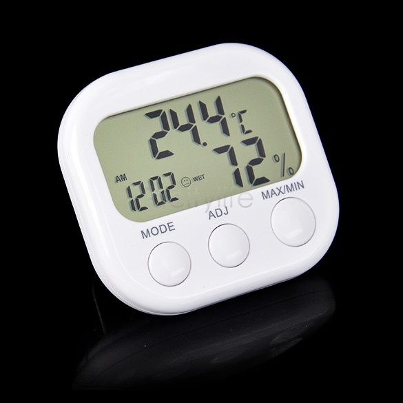 Indoor Digital Thermometer Hygrometer Clock KS-005 White Dropshipping TK0440(China (Mainland))