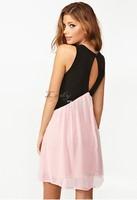 S-XL Plus Size 2014 New Sexy Deep V Neck Dress Fashion Women Hollow Out Back Sleeveless Chiffon Mini Summer Dress 19787