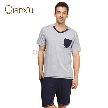 Qianxiu 2014 Summer Модный Patchwork Men Короткий-Рукав Брюки Lounge Wear