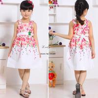 New Arrival Princess Children Dress Girls Kids Flower Print Pattern Sleeveless Dress Girl Summer Dress 5 Size SV00765 b007