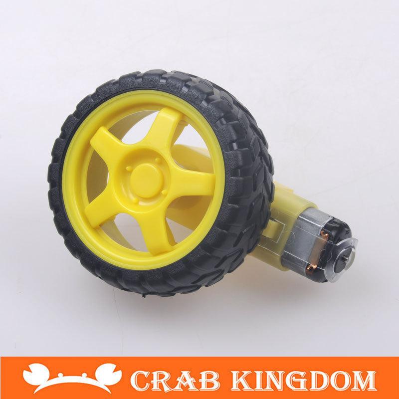4 lot / package DC motor TT 1:120 Biaxial Motor + one TT wheel kit robot Smart car 8 pcs/lot(China (Mainland))